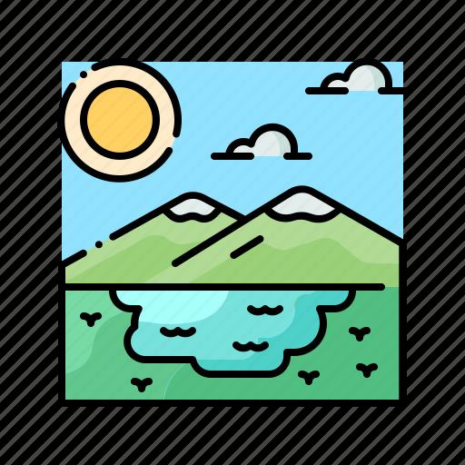 lake, landscape, nature, scenery, water icon