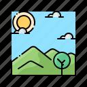 grass, hill, landscape, nature, scenery icon