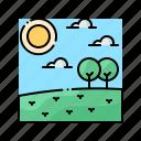 day, landscape, noon, sky, sun