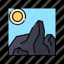 heavy, landscape, nature, rock, stone icon