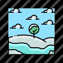 landscape, snow, snowfall, snowflake, winter icon