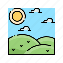 grass, landscape, meadow, nature, steppe icon