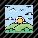 landscape, mountain, sky, sun, sunrise