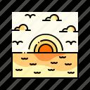 landscape, sea, sky, sun, sunset icon