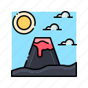 calm, crater, landscape, mountain, volcano icon