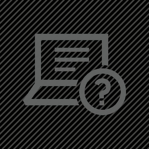 assist, computer, help, laptop, question, question mark icon