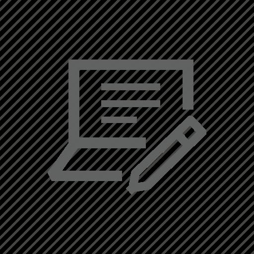 computer, edit, hardware, laptop, pen, pencil icon