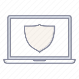 laptop, notebook, protect, safe, secured, shield icon