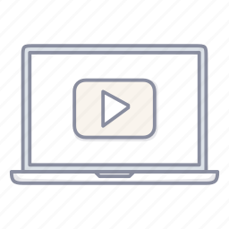 laptop, movie, notebook, youtube icon