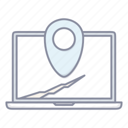 laptop, location, map, navigation, notebook, pin icon