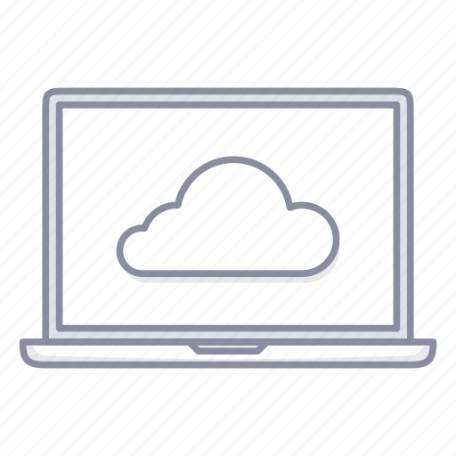 cloud, data, laptop, notebook, share, storage icon