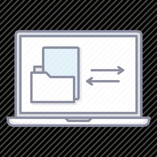 folder, laptop, notebook, share, sync, synchronisation icon