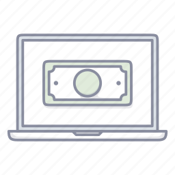 buy, commerce, dollar, laptop, money, notebook, pay icon