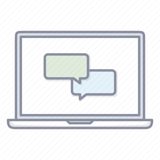 chat, forum, laptop, message, messenger, notebook icon