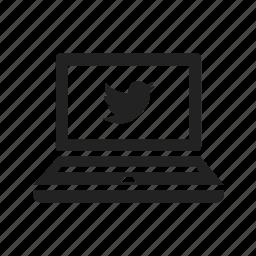 bird, computer, laptop, macbook, notebook, online, screen, twitter icon