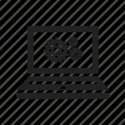 cogwheel, computer, configurate, configure, gear, gearwheel, laptop, notebook, screen icon
