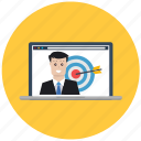 business, business man, customer, market research, marketing, target, targeting icon