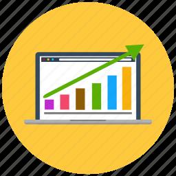 chart, graph, grow, laptop, marketing, statistics, web icon