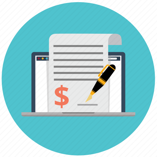 agreement, business, ecommerce, invoice, laptop, marketing, signature icon