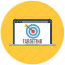 business, customers, laptop, market research, marketing, target, targeting icon
