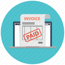 check, electronic invoice, invoice, invoices, laptop, paid, payment icon