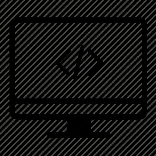 code, code desktop, computer, computer screen, desktop, desktop monitor icon
