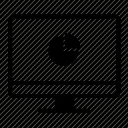 computer, desktop, desktop monitor, monitor, pie, pie chart, with icon