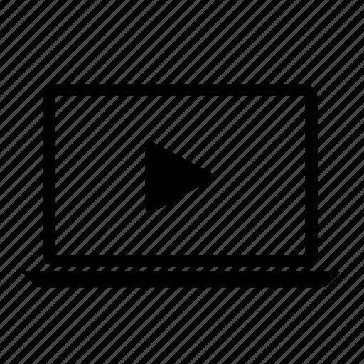 computer, laptop, laptop screen, play, play laptop, video icon