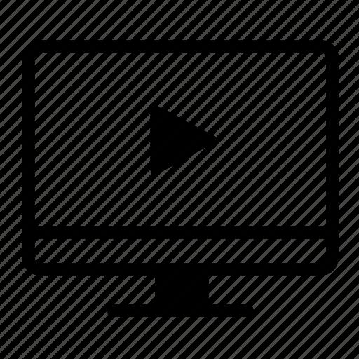 computer, desktop, desktop screen, monitor, play, video, video player icon