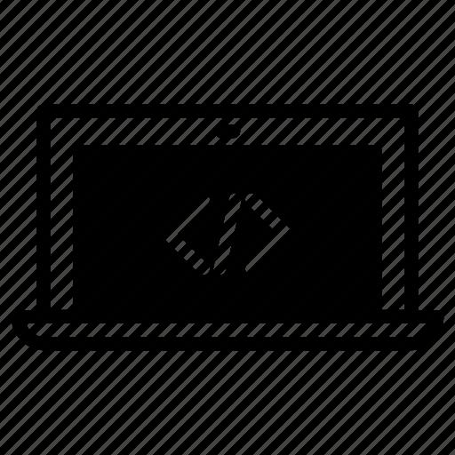 code, coding, laptop icon
