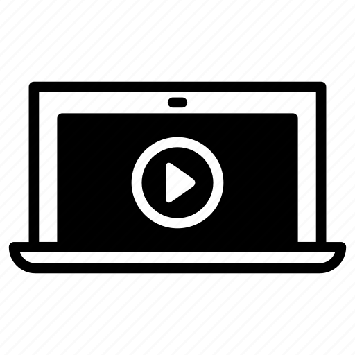 laptop, media, play, video, youtube icon