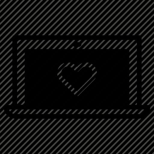 favourite, laptop, like, love icon