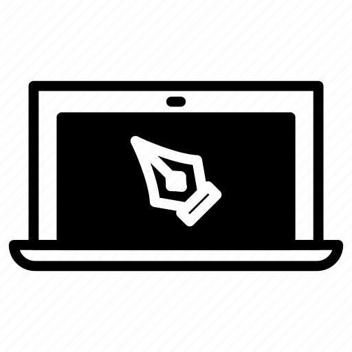design, designer, laptop, pen tool icon