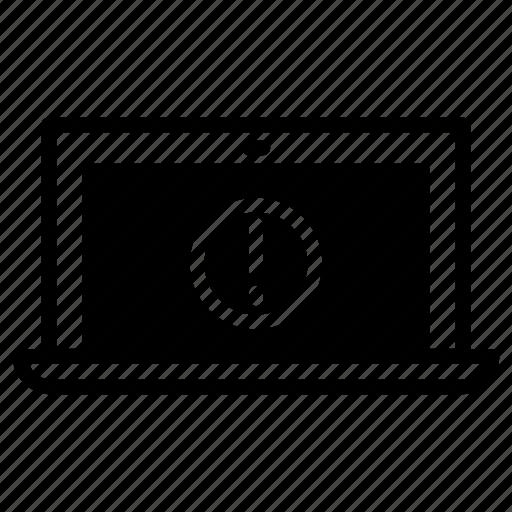 laptop, warning icon
