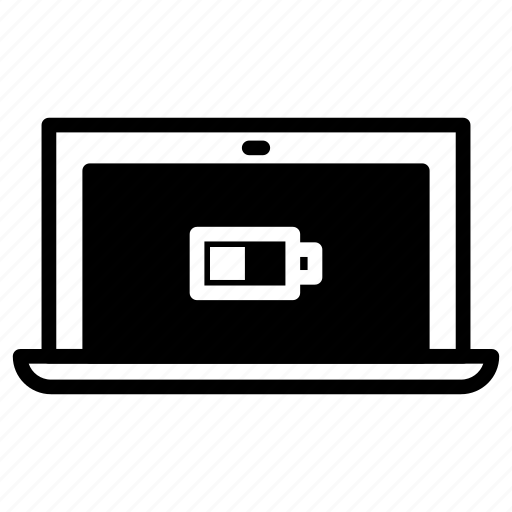 battery, half, laptop icon