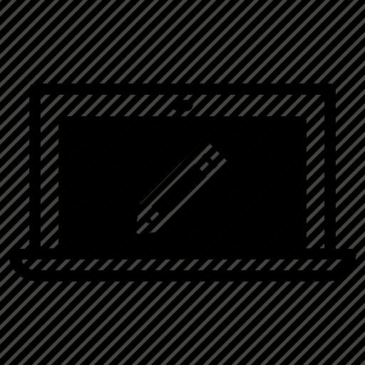 edit, laptop, pencil icon