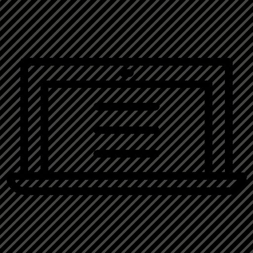 editor, laptop, paragraph, write icon