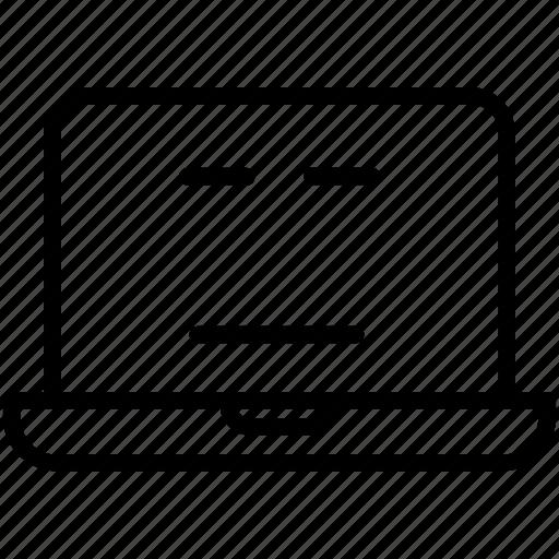 computer, emoji, expression, expressionless laptop, laptop, smiley icon