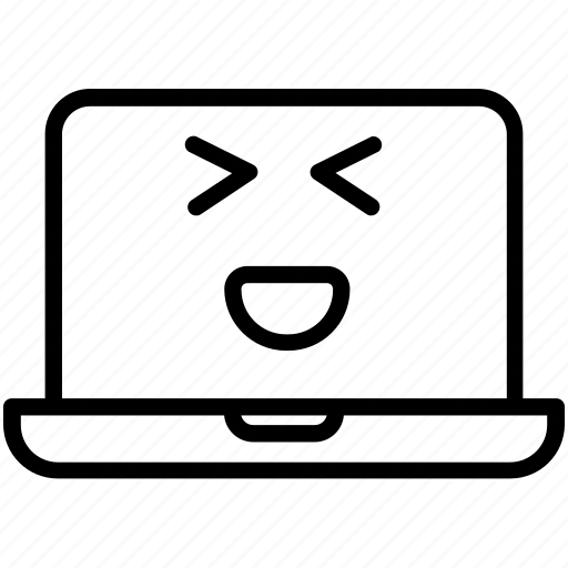 computer, emoji, expression, grinning squinting laptop, laptop, smiley icon