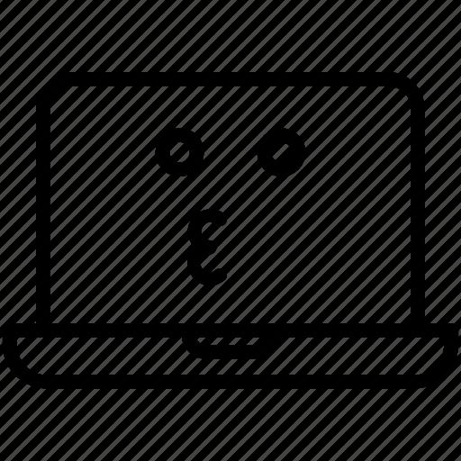 computer, emoji, expression, kissing laptop, laptop, smiley icon