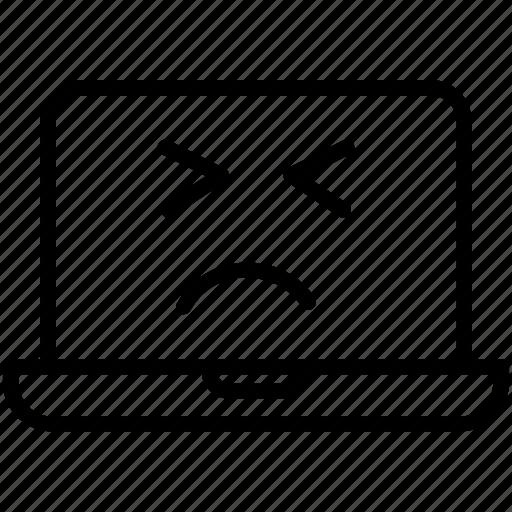 computer, emoji, expression, laptop, persevering laptop, smiley icon
