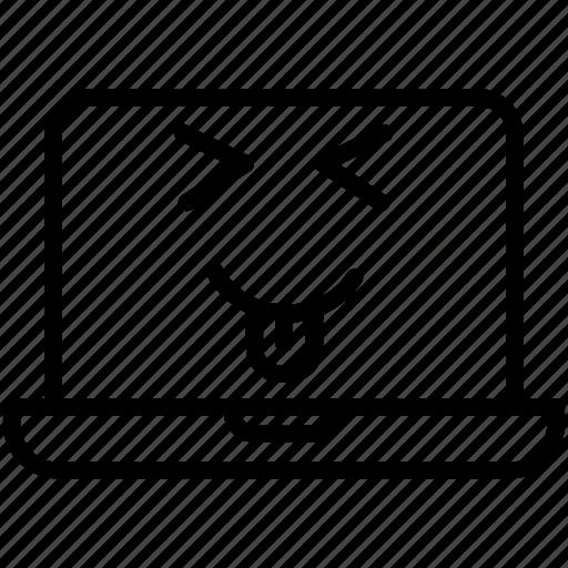 computer, emoji, emoticon, laptop, smiley, squinting laptop with tongue icon