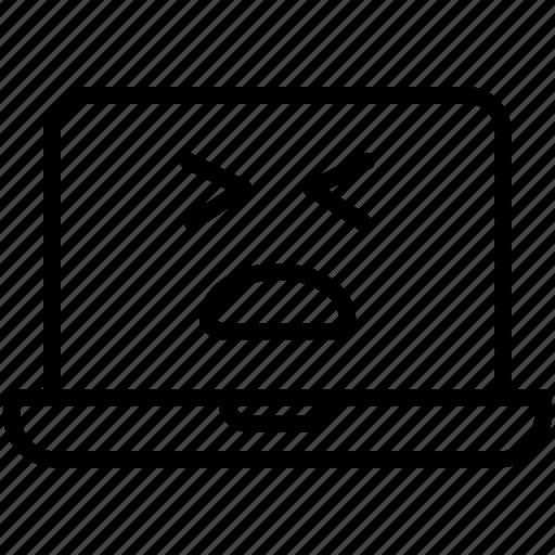 emoji, emotion, laptop, smiley, tired laptop icon