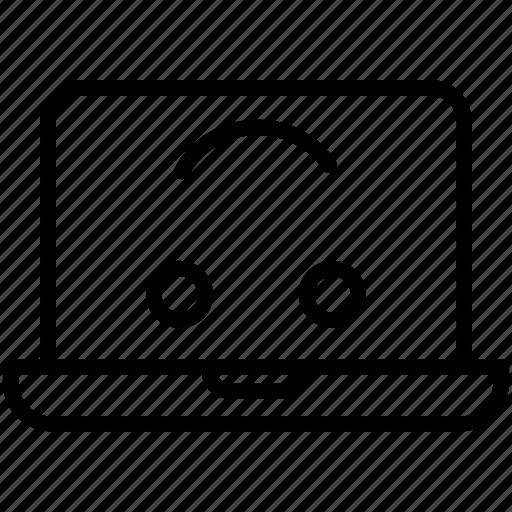 computer, emoji, emotion, happy, laptop, smiley, upside-down laptop icon