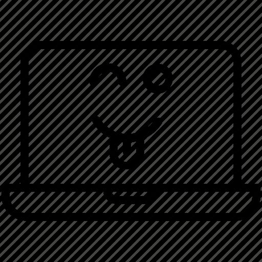 computer, emoji, emotion, laptop, smiley, winking laptop with tongue icon