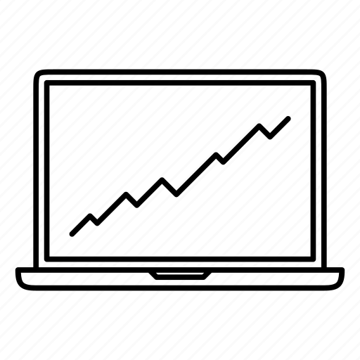 chart, graph, laptop, line, notebook, report, trend icon