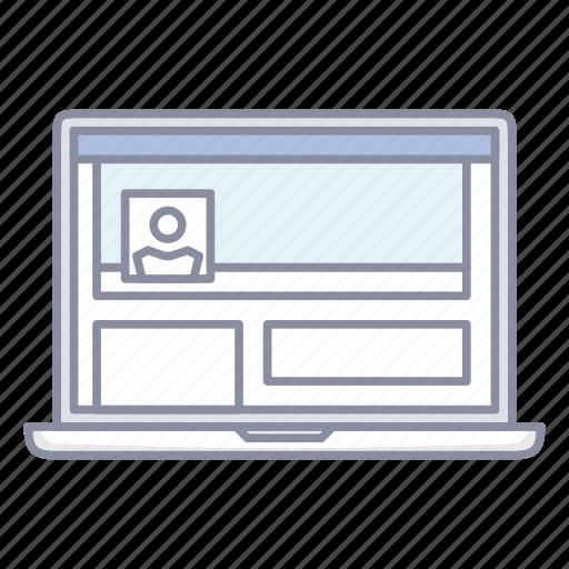 facebook, laptop, notebook, profile, social network icon
