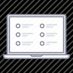 advantages, landing, laptop, questionnaire, test icon