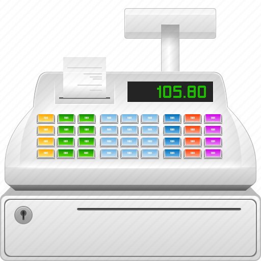 buy, cash, cashbox, cashregister, coinbox, commerce, ecommerce, machine, money, moneybox, online, price, recording, register, sales, sell, seller, shop, shopping, till, webshop icon
