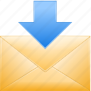 download emails, get mail, inbox, income, letter, message, receive post icon
